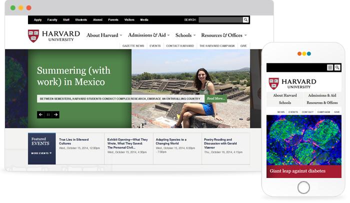 반응형 웹 제작사례 -  harvard university