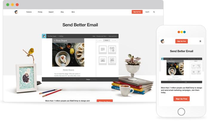 반응형 웹 제작사례 - 메일침프(MailChimp)